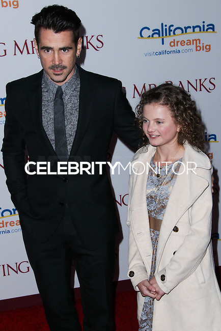 "BURBANK, CA - DECEMBER 09: Colin Farrell, Annie Rose Buckley arriving at the U.S. Premiere Of Disney's ""Saving Mr. Banks"" held at Walt Disney Studios on December 9, 2013 in Burbank, California. (Photo by Xavier Collin/Celebrity Monitor)"