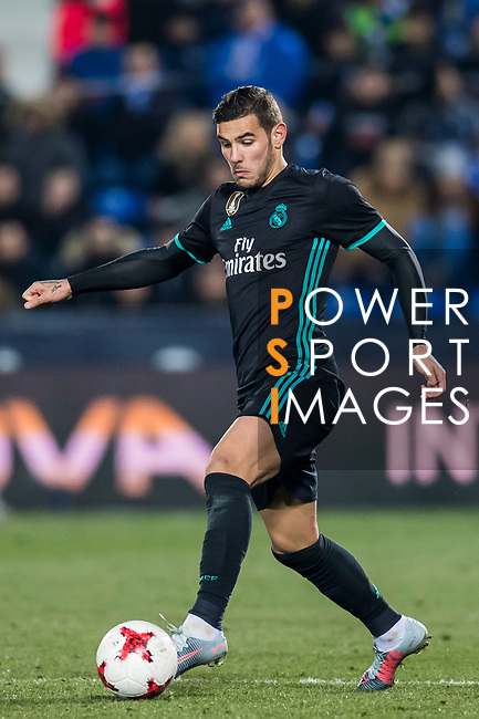 Theo Hernandez of Real Madrid in action during the Copa del Rey 2017-18 match between CD Leganes and Real Madrid at Estadio Municipal Butarque on 18 January 2018 in Leganes, Spain. Photo by Diego Gonzalez / Power Sport Images