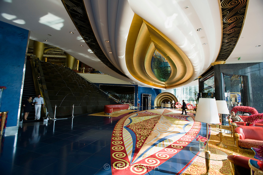 Jumeirah, Burj Al Arab, the World's most luxurious hotel. The Reception area.