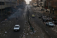 Baghdad, Iraq, May 19, 2003.Al Jhumuhrya (Republic avenue), littered with garbage of all sorts, one of the main avenues of central Baghdad, normally thriving with intense trafic and commercial activity is all but deserted in the middle of the afternoon more than a month after the US troops captured the city.