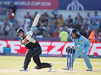 Trent Boult (New Zealand) lofts to the mid wicket boundary during England vs New Zealand, ICC World Cup Cricket at The Riverside Ground on 3rd July 2019