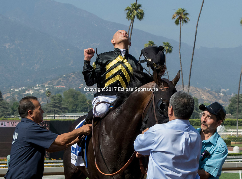 "ARCADIA, CA. JUNE 3: #3 Bal a Bali ridden by Mike Smith after winning the Shoemaker Mile (Grade l), Breeders' Cup ""Win and You're In"" race on June 3, 2017, at Santa Anita Park in Arcadia, CA. (Photo by Casey Phillips/Eclipse Sportswire/Getty Images)"