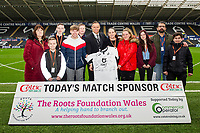 Lee Trundle with the match shirt sponsor during the Sky Bet Championship match between Swansea City and West Bromwich Albion at the Liberty Stadium in Swansea, Wales, UK. Saturday 07 March 2020