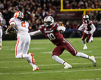The tenth ranked South Carolina Gamecocks host the 6th ranked Clemson Tigers at Williams-Brice Stadium in Columbia, South Carolina.  USC won 31-17 for their fifth straight win over Clemson.  South Carolina Gamecocks linebacker Skai Moore (10), Clemson Tigers wide receiver Sammy Watkins (2)