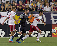 New York Red Bulls defender Rafa Marquez (4) gains control of ball in defensive zone. In a Major League Soccer (MLS) match, the New England Revolution tied New York Red Bulls, 2-2, at Gillette Stadium on August 20, 2011.
