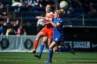 Seattle, Washington - Sunday, June 12, 2016: Houston Dash defender Allysha Chapman (15) heads the ball during a regular season National Women's Soccer League (NWSL) match at Memorial Stadium. Seattle won 1-0.