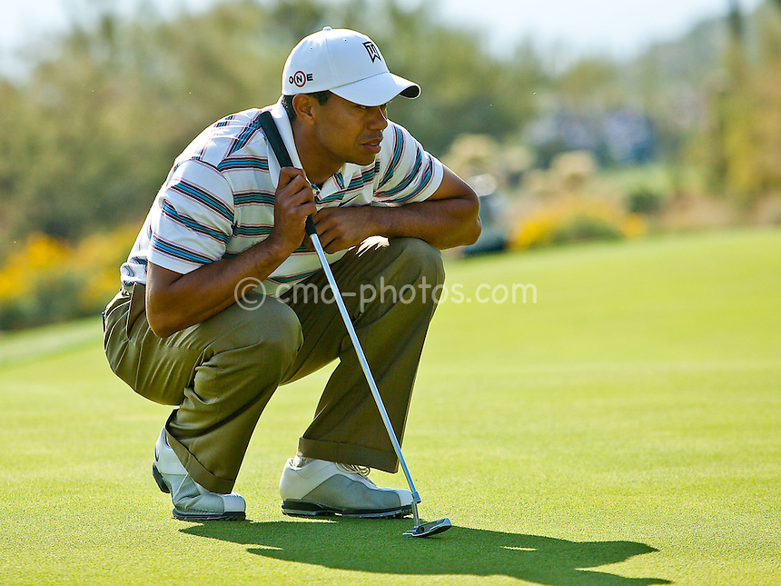 Feb 26, 2009; Marana, AZ, USA; Tiger Woods (USA) examines a putt on the 14th hole during the second round of the World Golf Championships-Accenture Match Play Championship at the Ritz-Carlton Golf Club, Dove Mountain.