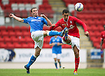 St Johnstone v York City...19.07.14  <br /> Chris Kane and Lewis Montrose<br /> Picture by Graeme Hart.<br /> Copyright Perthshire Picture Agency<br /> Tel: 01738 623350  Mobile: 07990 594431