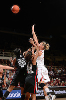 STANFORD, CA - NOVEMBER 26: Joslyn Tinkle of Stanford women's basketball puts up a shot in a game against South Carolina on November 26, 2010 at Maples Pavilion in Stanford, California.  Stanford topped South Carolina, 70-32.