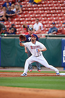 Buffalo Bisons first baseman Casey Kotchman (55) stretches for a throw during a game against the Lehigh Valley IronPigs on July 9, 2016 at Coca-Cola Field in Buffalo, New York.  Lehigh Valley defeated Buffalo 9-1 in a rain shortened game.  (Mike Janes/Four Seam Images)