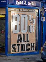 80% discount sale at Field & Trek, Guildford High Street.