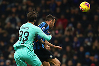 Calcio, Serie A: Inter Milano - AS Roma, Giuseppe Meazza stadium, December 6, 2019.<br /> Inter's Matias Vecino (r) in action with Roma's goalkeeper Antonio Mirante (l) during the Italian Serie A football match between Inter and Roma at Giuseppe Meazza (San Siro) stadium, on December 6, 2019.<br /> UPDATE IMAGES PRESS/Isabella Bonotto