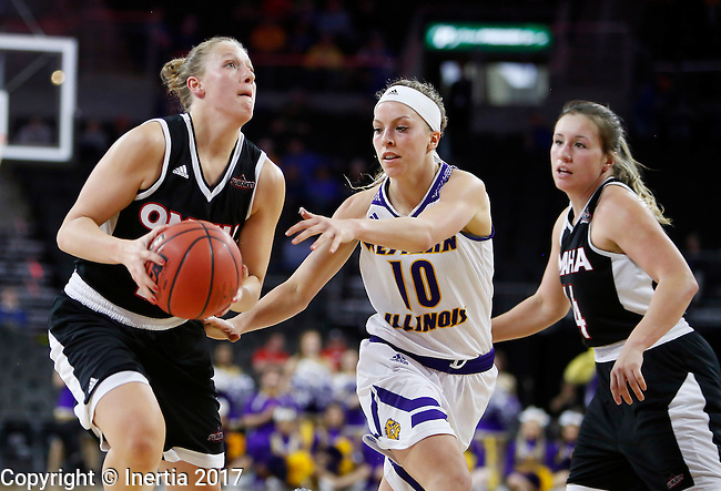 SIOUX FALLS, SD: MARCH 6: Mikaela Shaw #22 of Omaha drives past Mallory Boyle #10 of Omaha during the Summit League Basketball Championship on March 6, 2017 at the Denny Sanford Premier Center in Sioux Falls, SD. (Photo by Dick Carlson/Inertia)
