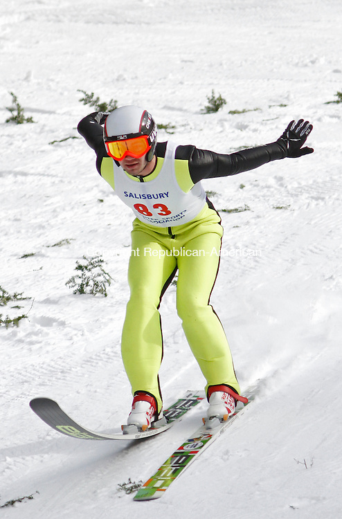 Salisbury, CT-020814MK02 Matthew Doyle lands during The Salisbury Invitational Competition on Saturday afternoon at Satre Hill in Salisbury.   Tyler Smith won the event with an overall score of 222.2. The Eastern U.S. Ski Jumping Championships begin today at 1 p.m.   Michael Kabelka / Republican-American