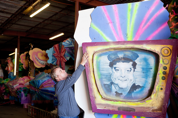 Barry Barth, owner of the Mardi Gras float building company Barry Barth (Artists and Designers), helps construct part of a float for the Krewe of Oshun in New Orleans on February 2, 2010.