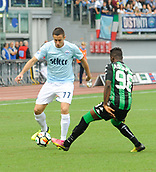 1st October 2017, Stadio Olimpico, Rome, Italy; Serie A football, Lazio versus Sassuolo; Marusic in action as he takes on Claud Adjapong
