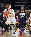 SIOUX FALLS, SD - MARCH 7:  Bridget Arens #22 of South Dakota looks to drive against defender Faith Ihim #15 of Ora Roberts in the 2016 Summit League Tournament. (Photo by Dick Carlson/Inertia)