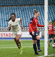 20190113 - LILLE , FRANCE : PSG's Marie Antoinette Katoto celebrating her opening goal pictured during women soccer game between the women teams of Lille OSC and Paris Saint Germain  during the 16 th matchday for the Championship D1 Feminines at stade Lille Metropole , Sunday 13th of January 2019,  PHOTO Dirk Vuylsteke | Sportpix.Be