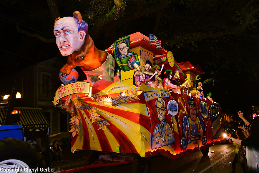 The Krewe D'Etat parade and its satirical float Russian Bear rollsl in New Orleans on Friday, Feb. 24, 2017. (AFP/CHERYL GERBER)