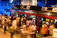 Passengers get off a Light Rail Transit train in the Siu Hong KCR West Rail station in Hong Kong, China, where there is an interchange for the Light Rail and the KCR..04 Jul 2007
