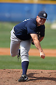 New York Yankees minor league player pitcher Preston Claiborne #34 delivers a pitch during a game vs the Toronto Blue Jays at the Englebert Minor League Complex in Dunedin, Florida;  March 21, 2011.  Photo By Mike Janes/Four Seam Images