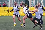 Santa Barbara, CA 02/19/11 - Dani Willis (CSU Fullerton #21), \scr7\ and unidentified CSU Fullerton player in action during the CSU Fullerton-UC Santa Cruz game at the 2011 Santa Barbara Shootout.