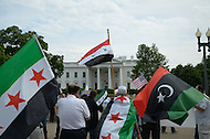 May 7, 2011 (Washington, DC) Libyans and Syrians in the US held a pro-democracy rally and protest in front of the White House, to support freedom for those in Libya and Syria. (Photo credit must read Don Baxter/Media Images International)