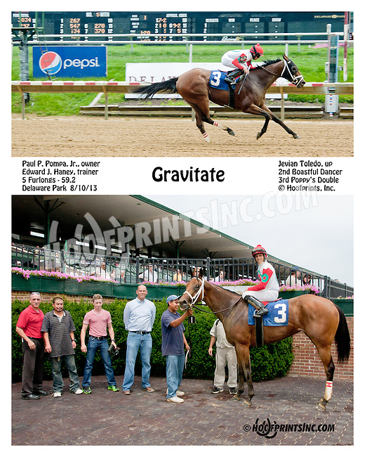 Gravitate winning at Delaware Park on 8/10/13