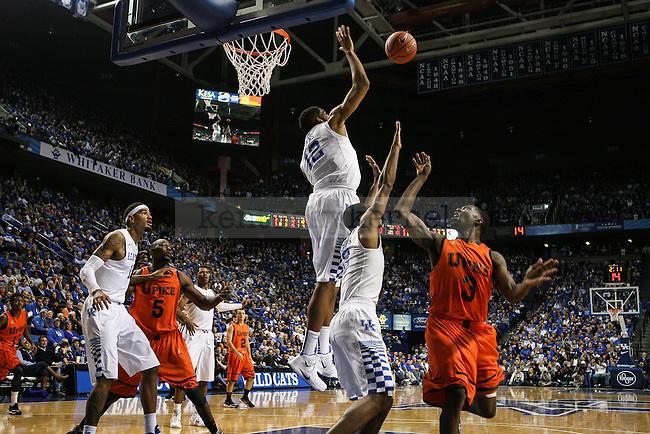 Kentucky forward Karl-Anthony Towns leaps to block a shot during the first half of exhibition game between Kentucky and Pikeville at Rupp Arena on Sunday, November 2, 2014 in Lexington, Ky. Photo by Adam Pennavaria | Staff