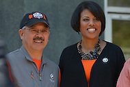 April 26, 2013  (Baltimore, Maryland)  Baltimore Mayor Stephanie Rawlings-Blake (r) and San Francisco Mayor Edwin M. Lee (r) after a tour of a Baltimore police station. Mayor Lee visited Baltimore for a day of community service. (Photo by Don Baxter/Media Images International)