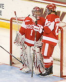 Kerrin Sperry (BU - 1), Tara Watchorn (BU - 27) - The Boston College Eagles defeated the Boston University Terriers 2-1 in the opening round of the Beanpot on Tuesday, February 8, 2011, at Conte Forum in Chestnut Hill, Massachusetts.