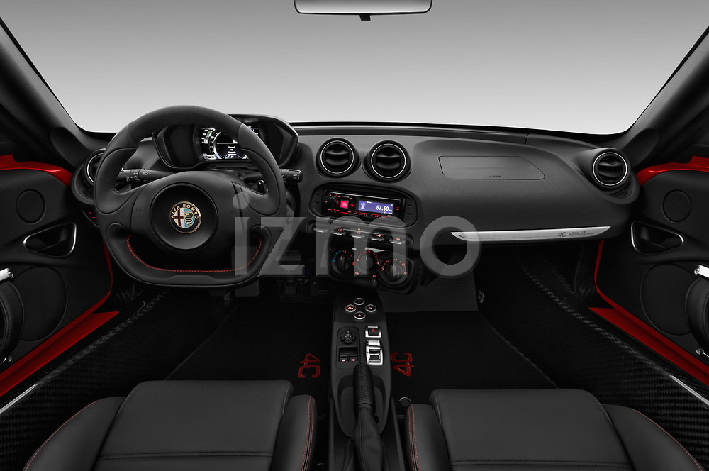 Stock photo of straight dashboard view of 2018 Alfaromeo 4C - 2 Door Convertible Dashboard