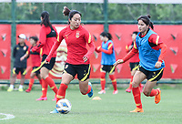 14th May 2020, Suzhou, southeastern Jiangsu Province of East China;  Players of Chinas womens national football team attend an open training session in Suzhou