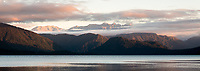 Sunset over Lake Kaniere near Hokitika, South Westland, New Zealand, NZ