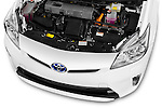 Car Stock 2015 Toyota Prius Comfort 5 Door Hatchback Engine  high angle detail view