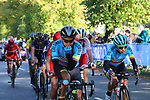 The peloton led by Team Colombia on the first circuit of Harrogate during the Women Elite Road Race of the UCI World Championships 2019 running 149.4km from Bradford to Harrogate, England. 28th September 2019.<br /> Picture: Seamus Yore | Cyclefile<br /> <br /> All photos usage must carry mandatory copyright credit (© Cyclefile | Seamus Yore)