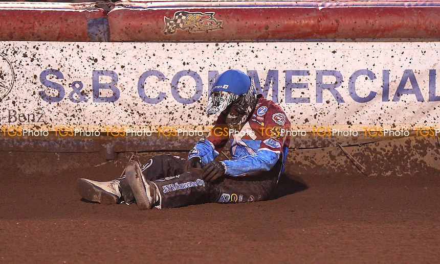 Heat 6: Kauko Nieminen takes a tumble - Lakeside Hammers vs Birmingham Brummies, Elite League Speedway at the Arena Essex Raceway, Purfleet - 29/04/11 - MANDATORY CREDIT: Rob Newell/TGSPHOTO - Self billing applies where appropriate - 0845 094 6026 - contact@tgsphoto.co.uk - NO UNPAID USE.