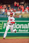 21 May 2018: Washington Nationals outfielder Juan Soto, making his first Major League start, rounds second after getting his first career hit: a 3-run homer on the first pitch he faced by the San Diego Padres pitching at Nationals Park in Washington, DC. The Nationals defeated the Padres 10-2, taking the first game of their 3-game series. Mandatory Credit: Ed Wolfstein Photo *** RAW (NEF) Image File Available ***