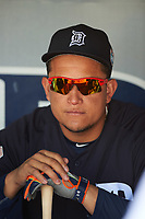 Detroit Tigers first baseman Miguel Cabrera (24) in the dugout before an exhibition game against the Florida Southern Moccasins on February 29, 2016 at Joker Marchant Stadium in Lakeland, Florida.  Detroit defeated Florida Southern 7-2.  (Mike Janes/Four Seam Images)