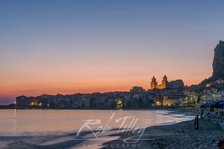 Europe, Italy, Sicily, Cefalu, Cefalu Beach at Dawn