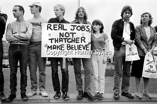 General Election 1983 Uk Thatcher unemployment demonstration about job prospectives for school leavers 1980s<br /> <br /> My ref 8/4501/, 1983,