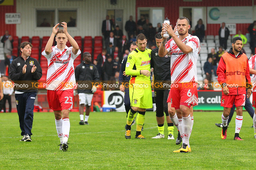 Henry Cowans (L) and Luke Wilkinson of Stevenage thank the fans after the match during Stevenage vs Crawley Town, Sky Bet EFL League 2 Football at the Lamex Stadium on 10th September 2016