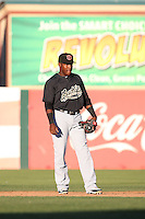 Henry Castillo (24) of the Visalia Rawhide in the field at second base during a game against the Lancaster JetHawks at The Hanger on July 6, 2016 in Lancaster, California. Lancaster defeated Visalia, 10-7. (Larry Goren/Four Seam Images)