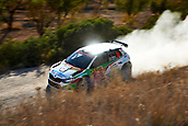 6th October 2017, Costa Daurada, Salou, Spain; FIA World Rally Championship, RallyRACC Catalunya, Spanish Rally; Benito Guerra of Mexico and his co-driver Daniel Cue of Spain compete in their Skoda Fabia R5 Motorsport Italia Team during the Terra Alta Stage
