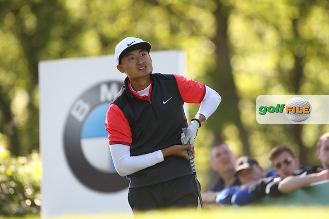 Li Hao-tong (CHN) drives from the 17th during Round One of the 2015 BMW PGA Championship over the West Course at Wentworth, Virginia Water, London. 21/05/2015Picture David Lloyd, www.golffile.ie.
