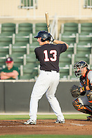 Carl Thomore (13) of the Kannapolis Intimidators at bat against the Delmarva Shorebirds at CMC-NorthEast Stadium on July 2, 2014 in Kannapolis, North Carolina.  The Intimidators defeated the Shorebirds 6-4. (Brian Westerholt/Four Seam Images)