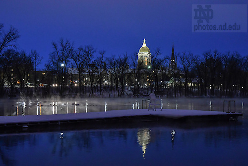 December 16, 2016; Dock on St. Joseph Lake on a winter morning. (Photo by Matt Cashore/University of Notre Dame)