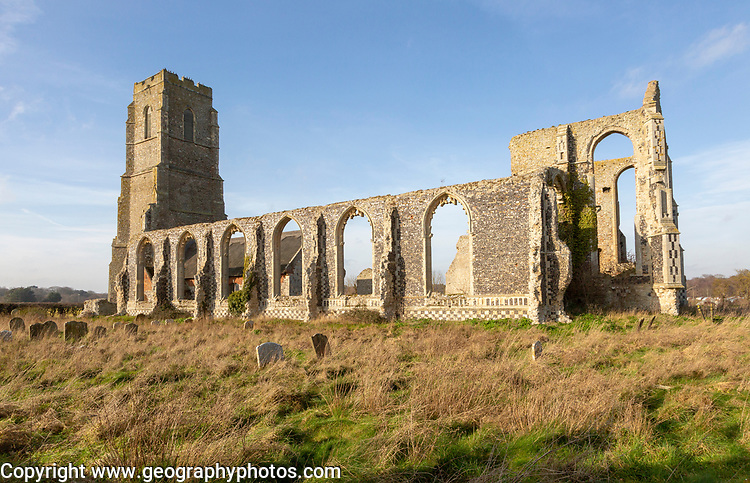 Church of Saint Andrew, Covehithe, Suffolk, England, UK ruins of ancient church
