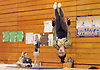 Julianna Feliz of Bethpage makes an inverted flip during her floor routine in the Nassau County varsity gymnastics individual championships and state qualifier at Long Beach High School on Tuesday, Feb. 13, 2018.