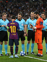The captains; Barcelona's Lionel Messi and Tottenham Hotspur's Hugo Lloris<br /> <br /> Photographer Rob Newell/CameraSport<br /> <br /> UEFA Champions League Group B - Tottenham Hotspur v Barcelona - Wednesday 3rd October 2018 - Wembley Stadium - London<br />  <br /> World Copyright © 2018 CameraSport. All rights reserved. 43 Linden Ave. Countesthorpe. Leicester. England. LE8 5PG - Tel: +44 (0) 116 277 4147 - admin@camerasport.com - www.camerasport.com